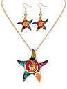 Women European Style Fashion Colorful Rainbow Starfish Necklace Earring Set Mermaid