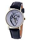 Женские Модные часы Кварцевый Кожа Группа Heart Shape Черный Белый Коричневый Зеленый Розовый