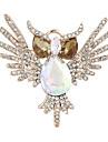 моды золота гальваническим горный хрусталь милые совы броши для свадьбы