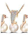 Women\'s Jewelry Set Stud Earrings Pendant Necklaces Pearl Imitation Diamond Basic Fashion European ElegantPearl Imitation Pearl