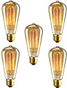 5pcs ST64 lampada e27 40W incandescente do vintage edison para bares cafe restaurante do clube de luz (220-240V)