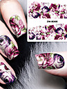 Fashion Printing Pattern Water Transfer Printing Gouache Flower Purple Rose Nail Stickers