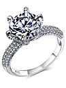 Классические кольца Массивные кольца Стерлинговое серебро Циркон Цирконий Мода Белый БижутерияСвадьба Для вечеринок Halloween