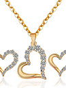 May Polly Fashion simple heart-shaped hollow Rhinestone Necklace Earrings Set
