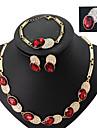 Lucky Doll Women\'s Alloy Rhinestone 18K Gold Plated Necklace & Earrings & Bracelet & Ring Jewelry Sets
