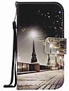 Pour samsung galaxy s7 bord s7 boitier couverture paysage de la ville peinture pu telephone cas s5 s4 s3