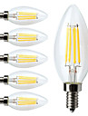 4W E14 LED Filament Bulbs C35 4 COB 400 lm Warm White Dimmable / Decorative AC 220-240 V 6 pcs