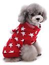 Katter / Hundar Tröjor Röd / Blå Hundkläder Vinter Stjärnor Gulligt / Håller värmen / Jul