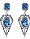 드랍 귀걸이 다이아몬드 패션 스탈링 실버 보석 합금 Triangle Shape 블루 보석류 용 파티 일상 캐쥬얼 1 쌍