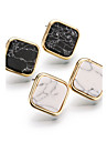 Fashion Punk Black White Faux Marbleed Stone Square Stud Earrings For Women Gold Plated Jewelry brincos com pedras