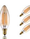 3.5 E12 LED лампы накаливания B 4 COB 300 lm Янтарный Декоративная / Регулируемая V 4 шт.