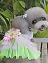 Cat Dog Dress Dog Clothes Cute Fashion Flower Green Blushing Pink