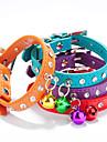 Cat / Dog Collar Adjustable/Retractable / Handmade / With Bell Rhinestone Red / Black / Blue / Pink / Purple / Orange / Rose PU Leather