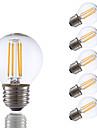 3.5 E26/E27 LED лампы накаливания G16.5 4 COB 350 lm Тёплый белый Регулируемая AC 110-130 V 6 шт.