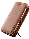For iPhone 7 7 Plus Case Card Holder Wallet with Stand Case Full Body Case Solid Color Hard Genuine Leather iPhone 6s 6Plus SE 5S 5