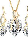 Mulheres Conjunto de Joias Brincos Compridos Colares com Pendentes Cristal Imitacao de Diamante Amor bijuterias Europeu Casamento Elegant