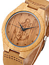 Lost Sea Anchors Design Bamboo Wood Watches Japan Quartz Wood Bamboo Wristwatches Genuine Leather Men Women