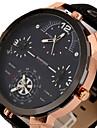 Men\'s Sport Watch Military Watch Dress Watch Fashion Watch Wrist watch Three Time Zones Punk Quartz Leather BandVintage Cool Casual