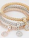 Women Fashion Simple Rhinestones Round Charm Bracelet  Christmas Gifts