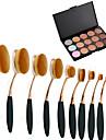10Pc/Set Pro Fashion Gold Black Oval Toothbrush Shape Face Makeup Brushes Tools &  15 Colors Contour Face Cream Makeup Concealer Palette