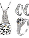Jewelry Set Rhinestone Imitation Diamond Zircon Cubic Zirconia Rhinestone Alloy Gold White Party Daily Casual Valentine 1set1 Necklace 1