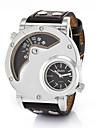 Hombre Reloj Deportivo Reloj Militar Reloj de Moda Reloj de Pulsera Cuarzo Dos Husos Horarios Cuero Autentico Banda Cosecha Casual