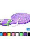 1m v8 micro usb tenacidade de nylon cabo de dados de macarrao para Samsung e outro telefone (cores sortidas)