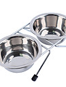 Cat Dog Bowls & Water Bottles Pet Bowls & Feeding Waterproof Silver Stainless Steel