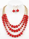 Femme Set de Bijoux euroamericains bijoux de fantaisie Verre Bijoux 1 Collier 1 Paire de Boucles d\'Oreille Pour Mariage Soiree Occasion