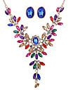 Свадебные комплекты ювелирных изделий Стразы Имитация Sapphire Цветочный дизайн Стразы Сплав В форме цветка Цвет радуги1 ожерелье 1 пара