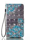 Para Carteira Porta-Cartao Com Suporte Flip Magnetica Estampada Capinha Corpo Inteiro Capinha Flor Rigida Couro PU para SamsungA3 (2017)