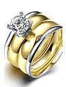 Mulheres Aneis Grossos Anel Anel de noivado Moda Estilo simples Casamento Aco Titanio Forma Redonda Joias Para Casamento Festa Ocasiao