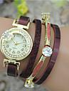 Женские Модные часы Часы-браслет Кварцевый Цветной Кожа Группа Кольцеобразный Черный Белый Синий Красный Розовый