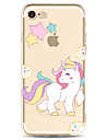 Pour iPhone X iPhone 8 Etuis coque Transparente Motif Coque Arriere Coque Licorne Bande dessinee Flexible PUT pour Apple iPhone X iPhone