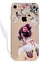Etui pour iphone 7plus 7 papillon sexy modele de dame acrylique fond de panier et tpu bord collier de cou 6s plus 6plus 6s 6 se 5s 5