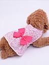 강아지 드레스 강아지 의류 캐쥬얼/데일리 리본매듭 퍼플 블루 핑크