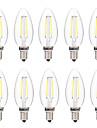 2W LED лампы накаливания C35 2 COB 200 lm Тёплый белый Белый Декоративная AC 220-240 V 10 шт.