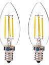 4W Ampoules a Filament LED C35 4 COB 350 lm Blanc Chaud Blanc AC 100-240 V 2 pieces