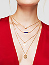 Women\'s Layered Necklaces Round Heart Gold Plated Adjustable Sideways Heart Multi Layer Fashion Gold Jewelry ForThank You Gift Daily Office & Career