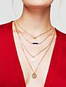 Mulheres colares em camadas Forma Redonda Formato de Coracao Chapeado Dourado Liga Coracao Multi Camadas Moda Dourado Joias Para Diario