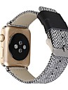 For 38/42mm Apple Watch 3 Series 2 Series 1 Replacement Band Stainless Steel Metal Clasp Buckle Comfortable Denim Fabric and Leather Watch Strap