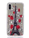 Para iPhone X iPhone 8 iPhone 8 Plus Case Tampa Ultra-Fina Transparente Estampada Capa Traseira Capinha Torre Eiffel Macia PUT para Apple