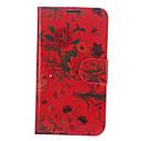 Red Flower Pattern PU-Leder Ganzkörper-Case mit Ständer und Card Slot für Samsung Galaxy Note N7100 2