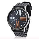 Unisex Brief Silicone Band Analog Quartz Wrist Sport Watch(Black)