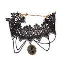 Vintage Alloy Flower Pattern Gem Pendant Lace Necklace