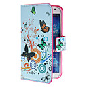 Circles and Flowers Pattern PU Leather Case with Stand and Card Slot for Samsung Galaxy S4 I9500