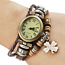 Women's Vintage Style Four Leaf Clover Pendant Brown Leather Band Quartz Bracelet Watch Cool Watches Unique Watches