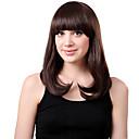 Монолитным средней синтетических коричневый парик волос Прямо полный взрыв