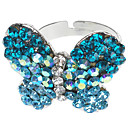 Swiss Blue Pretty Butterfly Sharped Adjustable Austrian Crystal Ring
