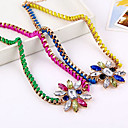 Fluorescent Color Of Multi-Slice Colored Gemstone Flower Necklace